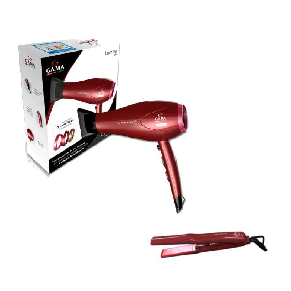 Secador de cabelo gama e prancha de cabelo gama duo ion plus
