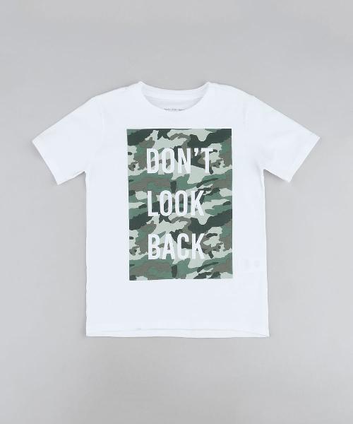 """Camiseta infantil """"don't look back"""" camuflada"""