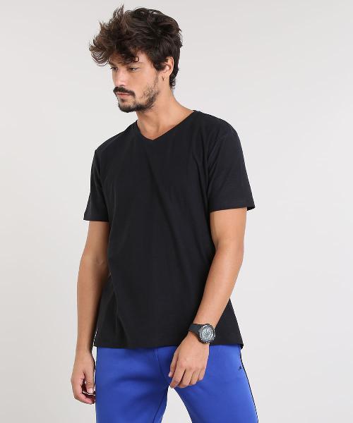 Camiseta masculina básica flamê manga curta gola v preta