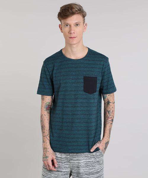 Camiseta masculina básica listrada com bolso manga curta