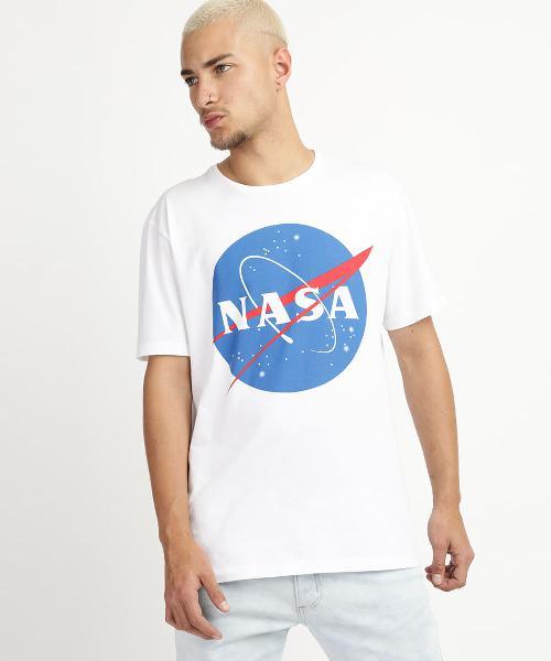 Camiseta masculina nasa manga curta gola careca branca