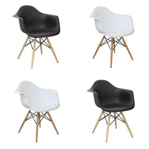 Kit 04 cadeiras charles melbourne com base de madeira