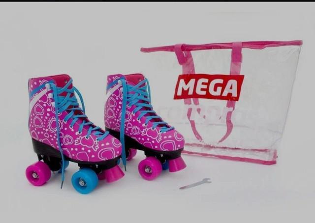 Patins roller rosa feminino