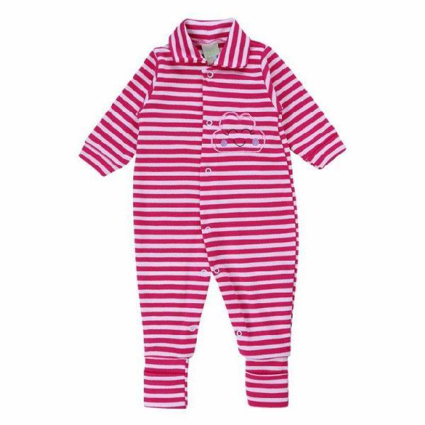 Roupa bebê menina macacão bebê longo smoby listra bordado