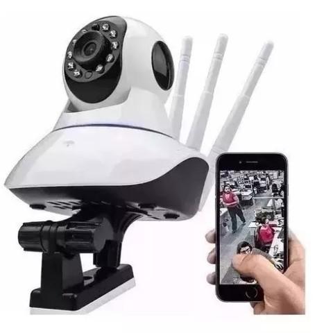 Câmera de segurança ip wireless sem fio wifi hd 3 antenas