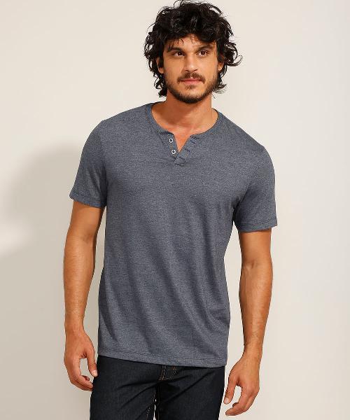 Camiseta masculina básica manga curta gola portuguesa azul