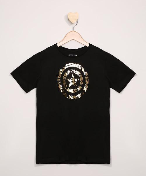 Camiseta infantil capitão américa metalizada manga curta
