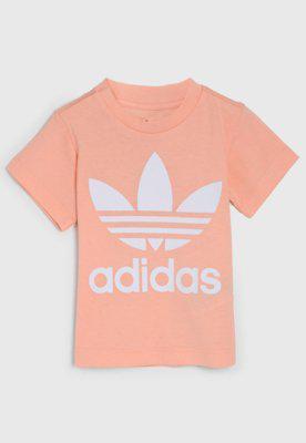 Camiseta adidas originals infantil trefoil rosa