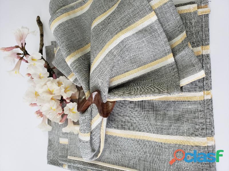Guardanapo tecido cinza . guardanapo tecido listrado 6 pçs