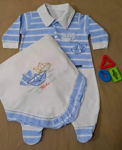 Combo 2 kits saída maternidade menino com manta e saco de