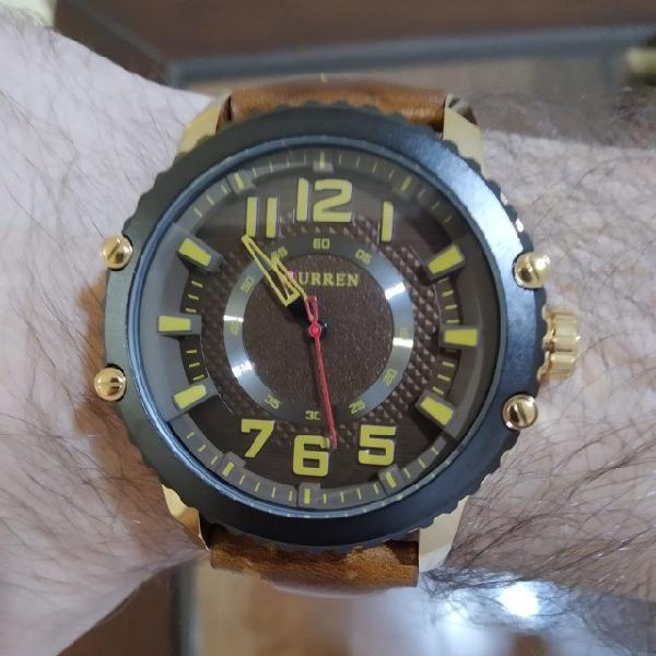 Relógio curren masculino couro envelhecido
