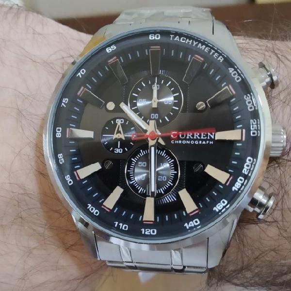 Relógio masculino curren aço inox - quartzo todo funcional