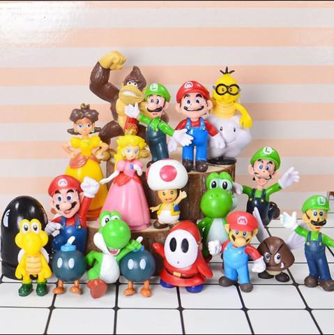 Super Mario Bros - Conjunto Mini Boneco 18 peças
