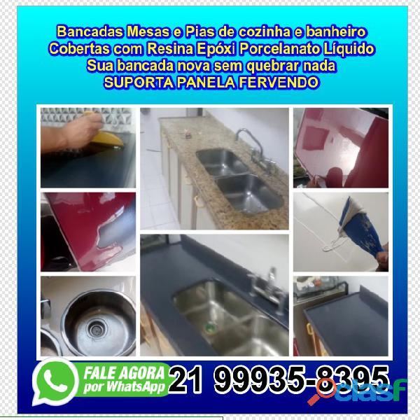 Bancada mesa e pia de cozinha e banheiro com resina epóxi porcelanato liquido rj rio de janeiro1