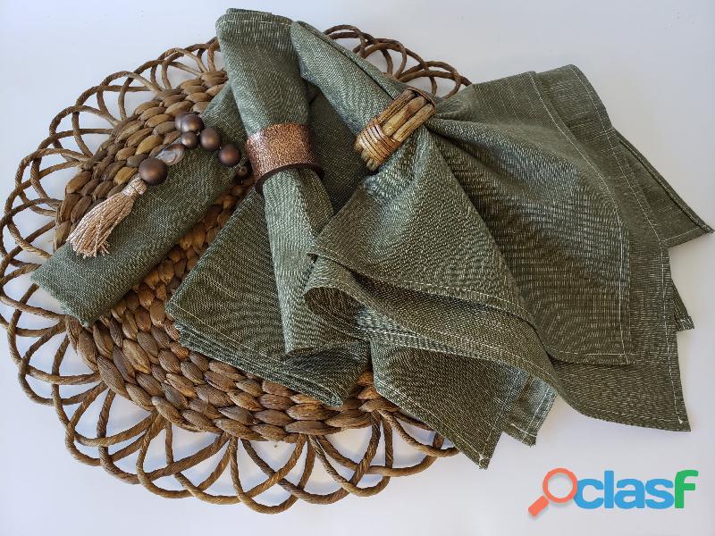 Guardanapo tecido verde militar
