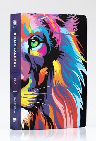 Bíblia de leão color capa dura média com harpa