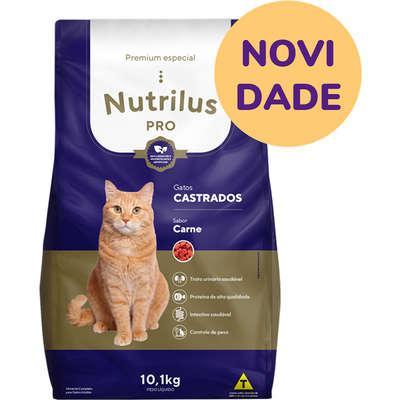 Ração seca nutrilus pro carne para gatos adultos castrados