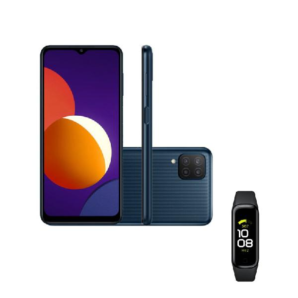"""Smartphone samsung galaxy m12 64 gb preto e galaxy fit2 1,1"""""""