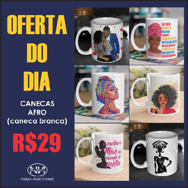 Canecas porcelana estampa afro - negro&nobre