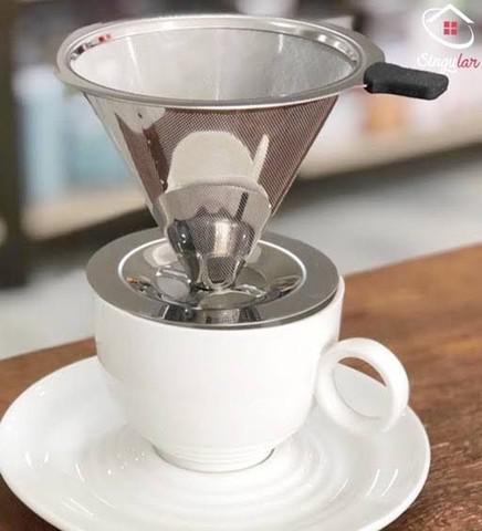 Coador filtro de café permanente reutilizável aço inox