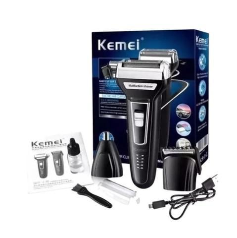 Maquina de barbear aparador pelos elétrico 3 em 1 kemei