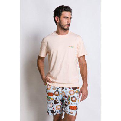Pijama manga curta acuo pijama manga curta bege