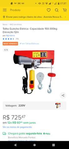 Talha guincho elétrica 150/300kg