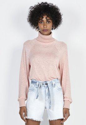 Blusa manga longa com gola alta rosa rosa