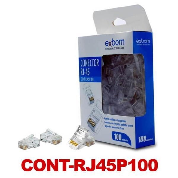 Conector rj45 [100 un.] para cabo de rede cont-rj45p100