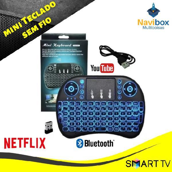 Mini teclado sem fio para smart tv tv box pc com luz de led