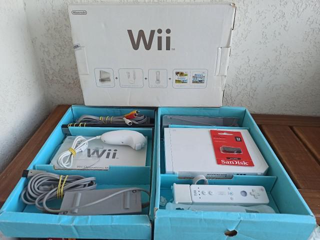 Nintendo wii desbloqueado na caixa com berço e manuais