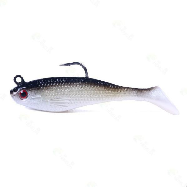 Isca de pesca macia silicone artificial kit com 03