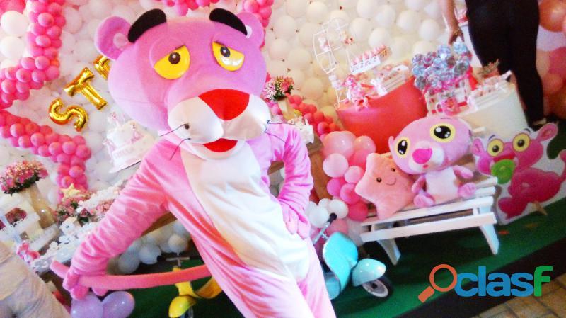 Pantera cor rosa cover personagens vivos festas infantil