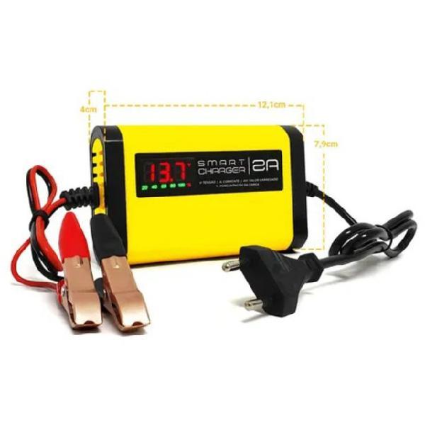 Carregador fonte p/ baterias 2ah/12v portatil carro moto jet
