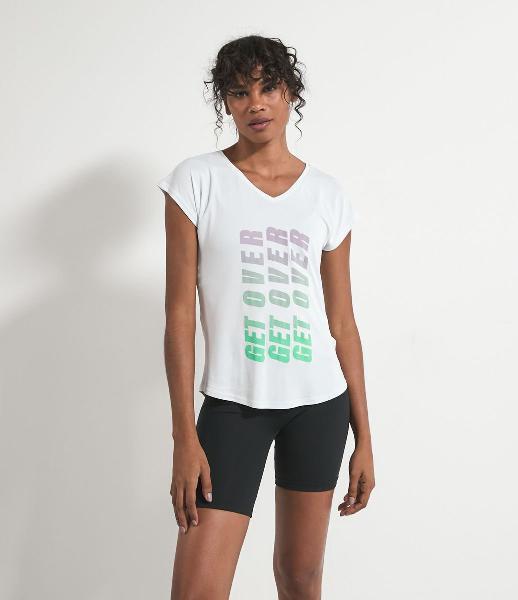 Camiseta esportiva manga curta lisa estampa get over