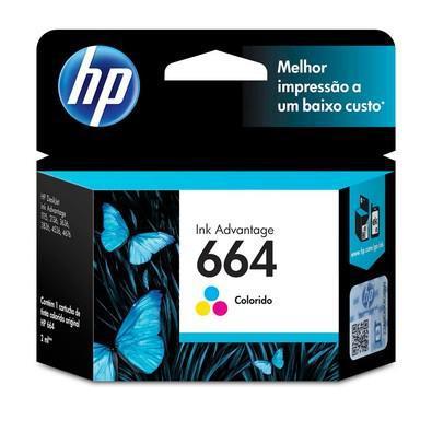 Cartucho de tinta hp ink advantage 664, colorido - f6v28ab