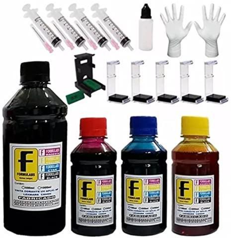 Kit 4 tintas recarga cartucho 550ml impressora epson, hp,