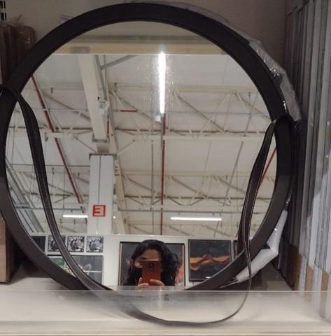 Espelho redondo adnet marrom