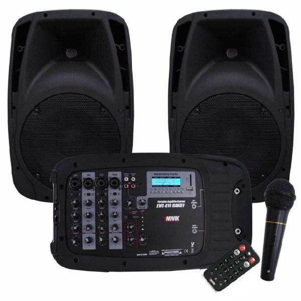 Kit novik evo 410 2 cxa 150w + mesa 4 canais + microfone -