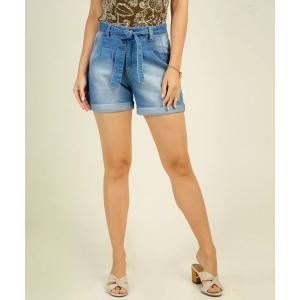 Parcelado] Bermuda Jeans Feminina Amarração Marisa <div