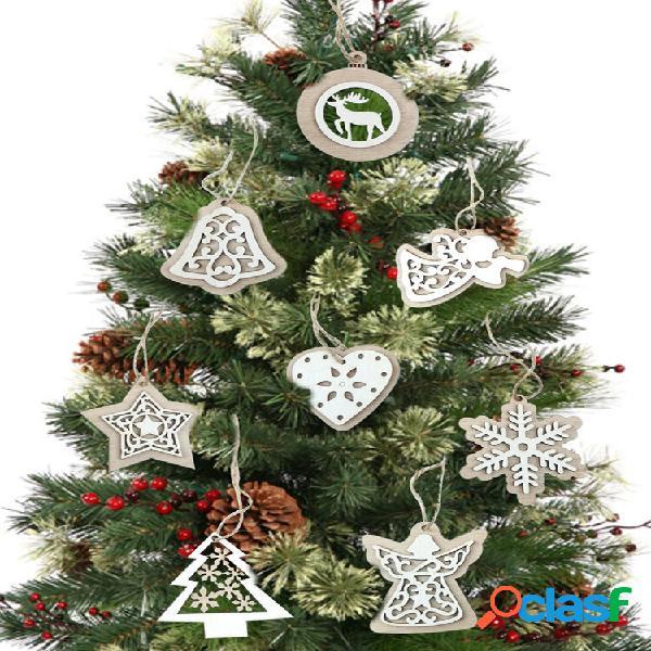 2 peças de madeira natural árvore de natal pingentes enfeites de artesanato presentes de natal decoração de festa de ano