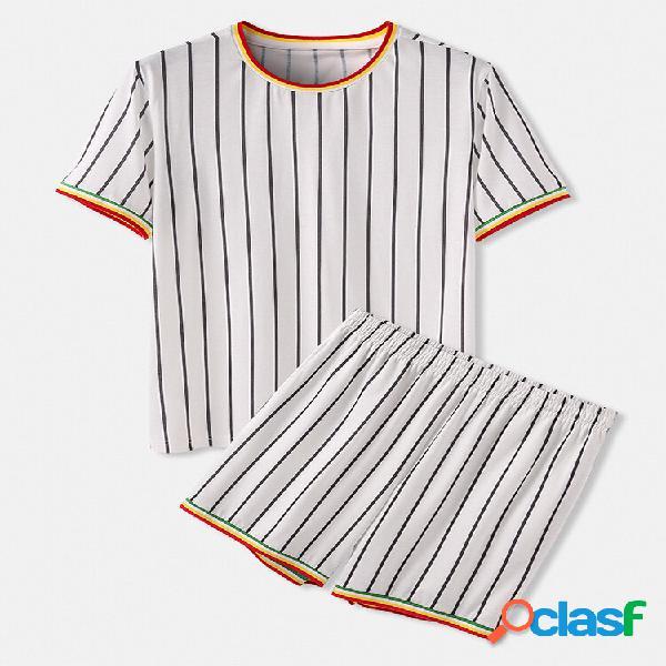 O-pescoço aconchegante patchwork listrado roupa de dormir de manga curta roupa de dormir para casa para homens