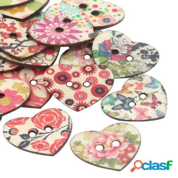25mm 50pcs madeira natural costura botões scrapbooking padrão impresso coração botões misto