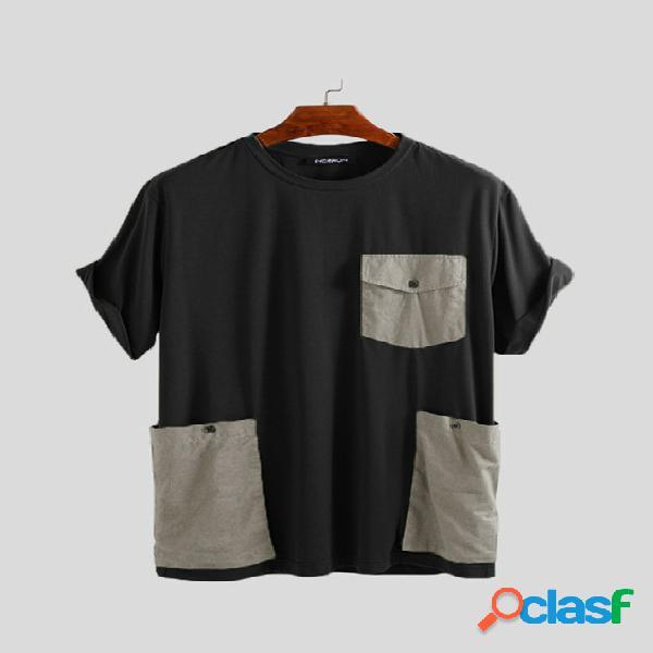 Incerun masculino coreano stlye summer color block patchwork panel personalizado camiseta de gola redonda