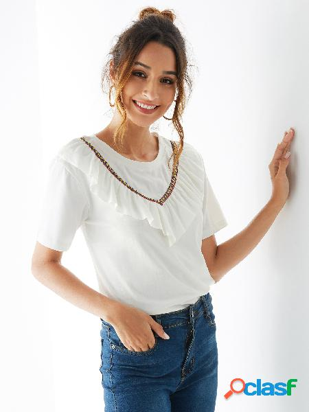 Yoins camiseta tribal branca de manga curta em volta do pescoço
