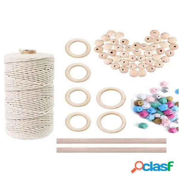 Conjunto de contas de madeira natural conjunto de fios de algodão para crianças faça você mesmo joias de madeira para fa