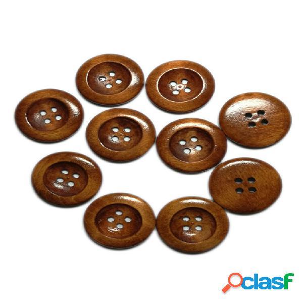 50 unidades 25 mm 4 furos madeira natural de borda fina padrão madeira para costura botões madeira natural artesanal dec