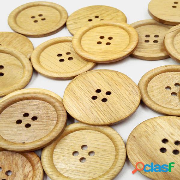 30 unidades 38 mm de diâmetro de costura de madeira botões madeira natural redonda de 4 furos pano redondo botões faça v