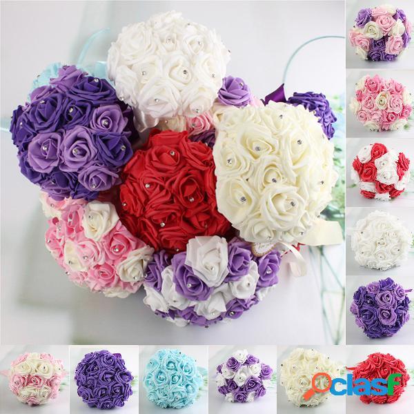 11.8 '' de cristal de dama de honra buquê de flores de espuma rosas casamento posy