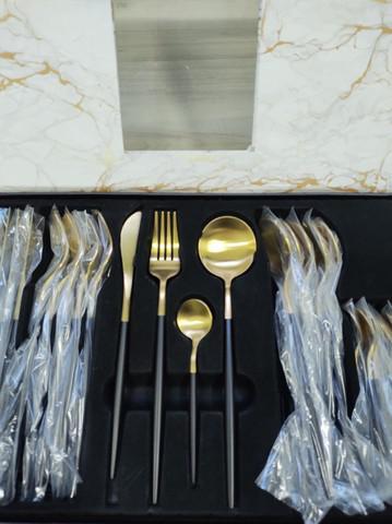 Faqueiro gold 24 peças aço inoxidável
